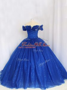 Royal Blue Off The Shoulder Lace Up Hand Made Flower Quinceanera Dress Cap Sleeves