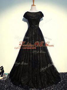 Scoop Short Sleeves Zipper Mother Of The Bride Dress Black Tulle