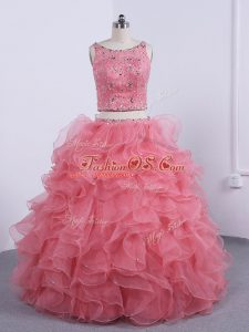 Customized Sleeveless Zipper Floor Length Beading and Ruffles Quinceanera Gown