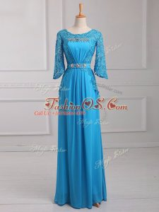 Empire Mother Of The Bride Dress Baby Blue Scoop Chiffon 3 4 Length Sleeve Floor Length Zipper