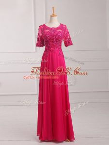 Scoop Half Sleeves Chiffon Mother Of The Bride Dress Lace and Appliques Zipper