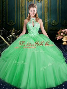 Sleeveless Lace Up Floor Length Beading and Pick Ups Quinceanera Gowns