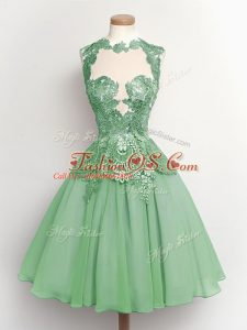 Attractive Knee Length A-line Sleeveless Apple Green Wedding Guest Dresses Lace Up