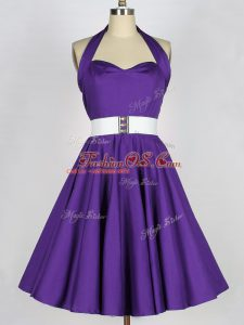 Hot Sale Sleeveless Taffeta Knee Length Zipper Court Dresses for Sweet 16 in Purple with Ruching