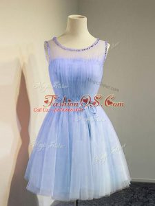 Best Empire Bridesmaid Gown Lavender Scoop Tulle Sleeveless Knee Length Lace Up