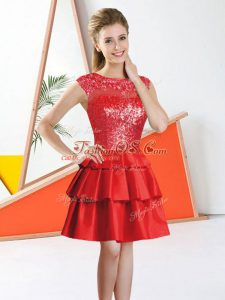 Bateau Sleeveless Backless Quinceanera Court of Honor Dress Red Tulle