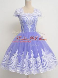 Square Cap Sleeves Wedding Party Dress Knee Length Lace Lavender Tulle