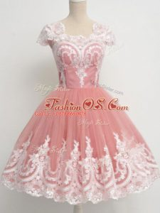 Delicate Peach Cap Sleeves Lace Knee Length Quinceanera Court of Honor Dress