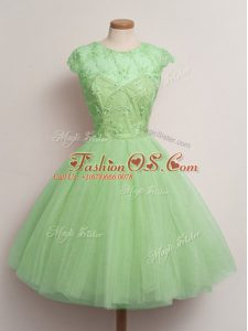 Exquisite Ball Gowns Bridesmaid Dress Scoop Tulle Cap Sleeves Knee Length Lace Up