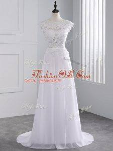 White Backless Bridal Gown Lace Cap Sleeves Brush Train