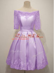Knee Length Lavender Wedding Guest Dresses Off The Shoulder Short Sleeves Lace Up