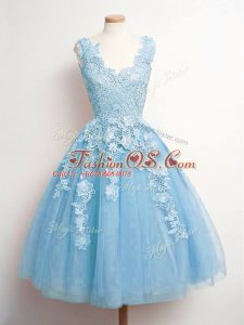 Baby Blue Tulle Lace Up Bridesmaid Dress Sleeveless Knee Length Lace