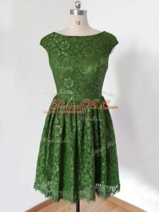 Olive Green Lace Lace Up Scoop Cap Sleeves Knee Length Bridesmaids Dress Lace