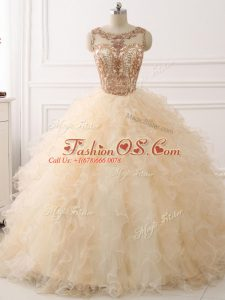 Scoop Sleeveless Sweep Train Lace Up Quinceanera Gowns Champagne Organza