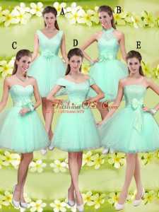 Apple Green A-line Lace and Belt Bridesmaid Dresses Lace Up Tulle Sleeveless Knee Length