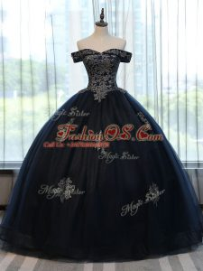 Navy Blue Sleeveless Appliques Floor Length Quinceanera Dress