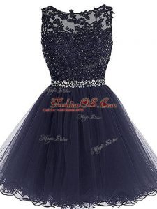 Tulle Scoop Sleeveless Zipper Beading and Lace and Appliques and Ruffles Prom Party Dress in Navy Blue