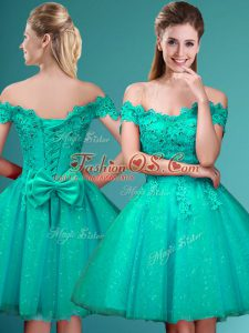Customized A-line Bridesmaid Gown Turquoise Off The Shoulder Tulle Cap Sleeves Knee Length Lace Up