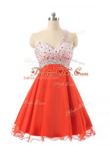 Mini Length Orange Red Cocktail Dress Chiffon and Tulle Sleeveless Beading