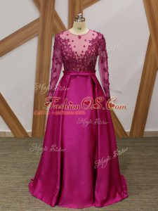 New Style Floor Length Fuchsia Mother Of The Bride Dress One Shoulder Long Sleeves Zipper