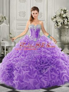 Sophisticated Court Train Ball Gowns 15 Quinceanera Dress Lavender Sweetheart Organza Sleeveless Lace Up