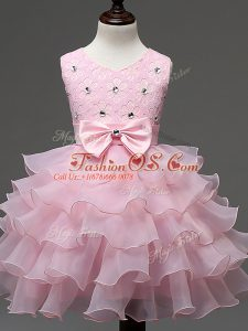 Popular Baby Pink Ball Gowns Scoop Sleeveless Organza Knee Length Zipper Lace and Ruffled Layers and Bowknot Little Girl Pageant Dress