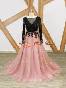 Pink And Black Empire Lace and Appliques and Sashes ribbons Celebrity Inspired Dress Zipper Tulle Long Sleeves