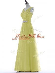 Fabulous Yellow Sleeveless Beading and Lace and Appliques Floor Length Evening Dress