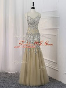 Champagne Mermaid Sequins Red Carpet Prom Dress Backless Sequined Sleeveless Floor Length