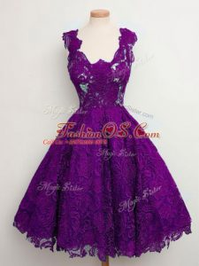 Glamorous Purple Straps Lace Up Lace Wedding Party Dress Sleeveless
