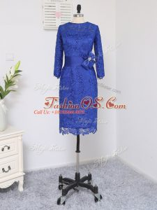 Decent Scoop Long Sleeves Zipper Mother Of The Bride Dress Royal Blue Lace