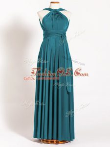Nice Teal Backless Straps Ruching Bridesmaid Dress Chiffon Sleeveless
