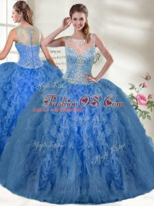 Blue Ball Gowns Beading and Ruffles Quince Ball Gowns Zipper Organza Sleeveless Floor Length