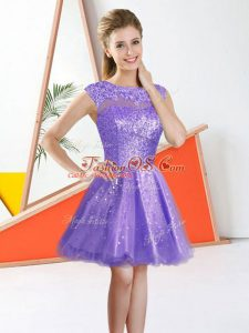 Beading and Lace Damas Dress Lavender Backless Sleeveless Knee Length