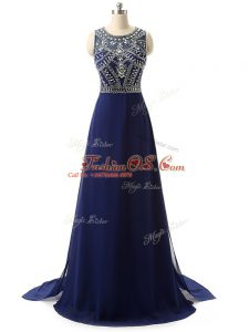 Exquisite Navy Blue Sleeveless Brush Train Beading Evening Dress