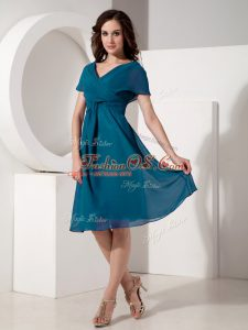 On Sale Chiffon Short Sleeves Knee Length Mother Of The Bride Dress and Ruching