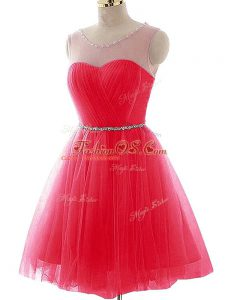 Gorgeous Scoop Sleeveless Prom Party Dress Mini Length Beading and Ruching Coral Red Tulle