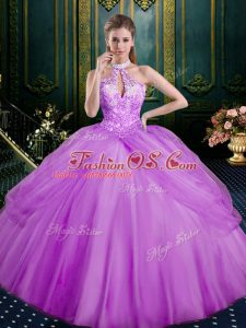 Beading and Pick Ups Ball Gown Prom Dress Lilac Lace Up Sleeveless Floor Length