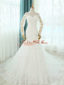 Pretty White Sleeveless Court Train Beading and Appliques Wedding Gowns