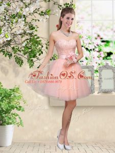 Amazing Sweetheart Sleeveless Lace Up Bridesmaid Gown Peach Tulle