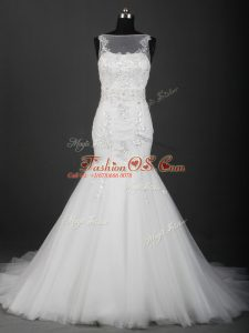 White Sleeveless Brush Train Appliques Bridal Gown