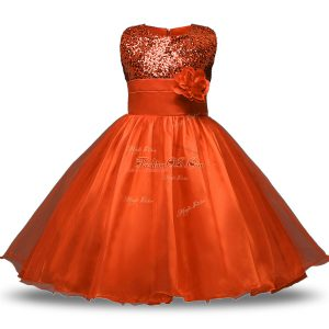 Orange Red Sleeveless Knee Length Bowknot and Belt and Hand Made Flower Zipper Flower Girl Dresses for Less