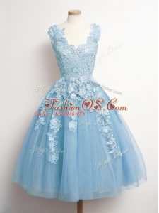 Artistic Knee Length A-line Sleeveless Light Blue Bridesmaids Dress Lace Up