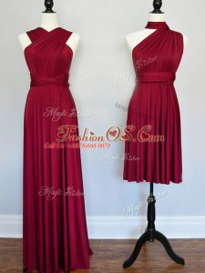 Great Burgundy Empire Ruching Wedding Guest Dresses Lace Up Chiffon Sleeveless