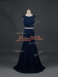 Floor Length Backless Mother Of The Bride Dress Navy Blue for Prom and Military Ball and Sweet 16 and Beach with Beading