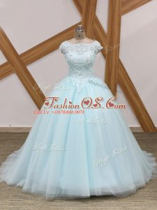 Custom Fit Zipper Quince Ball Gowns Light Blue for Military Ball and Sweet 16 and Quinceanera with Beading and Lace Brush Train