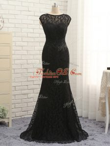 Black Scoop Zipper Lace and Appliques Mother Of The Bride Dress Sleeveless