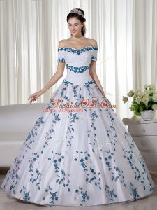 Elegant White Short Sleeves Embroidery Floor Length Quinceanera Gowns
