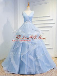 Sleeveless Tulle Floor Length Brush Train Lace Up Prom Dress in Light Blue with Beading and Ruffles