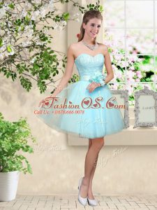 Aqua Blue Sleeveless Knee Length Lace and Belt Lace Up Bridesmaid Gown